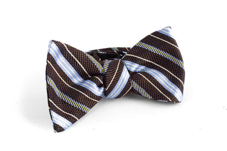 Regimental Grenadine Bow Tie - Brown/Light Blue
