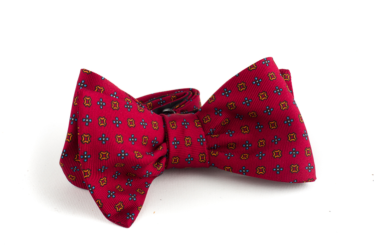 Floral Silk Bow Tie - Red/Rust