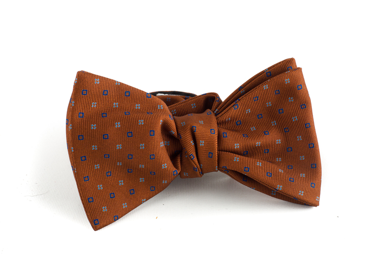 Micro Silk Bow Tie - Rust/Blue