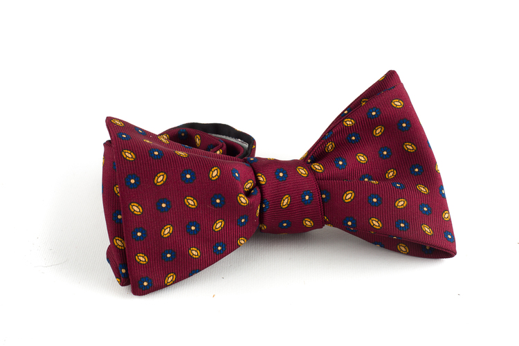 Floral Silk Bow Tie - Burgundy/Navy Blue/Yellow