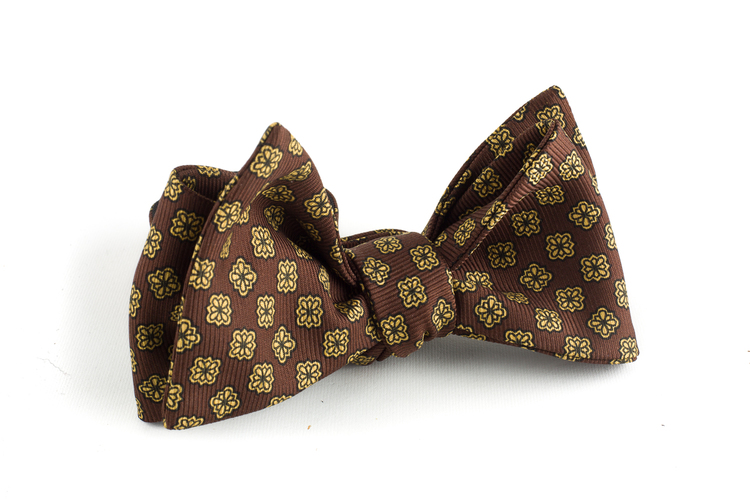 Floral Silk Bow Tie - Brown/Yellow