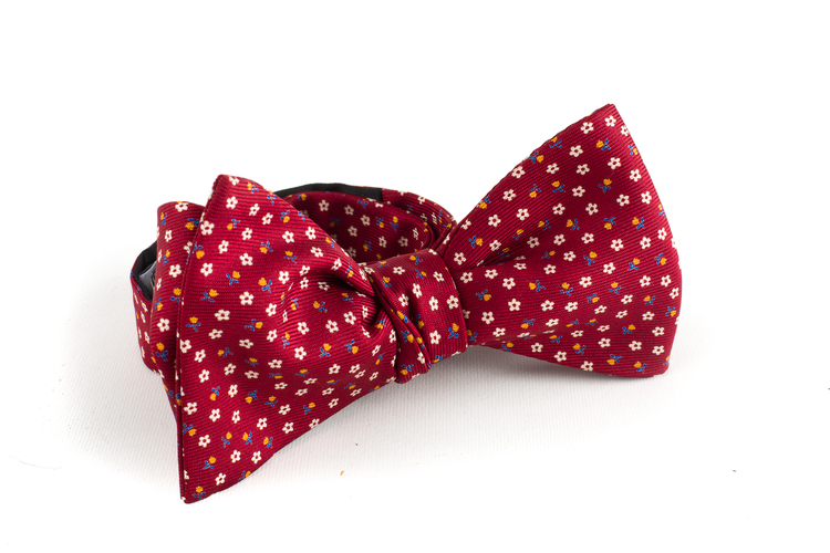Micro Floral Silk Bow Tie - Burgundy/White