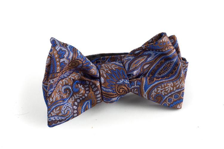 Paisley Silk Bow Tie - Brown/Light Blue