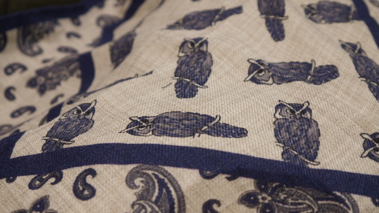Owl Wool Pocket Square - Off White/Navy Blue