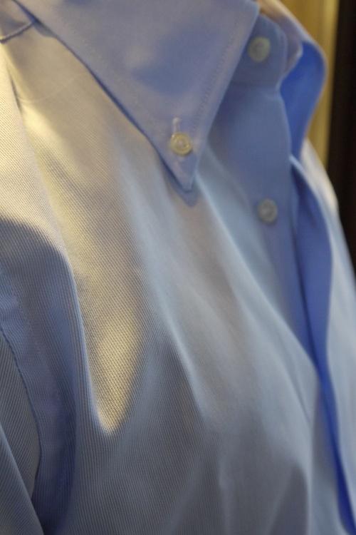 Thin Stripe Dobby Shirt - Button Down - Light Blue