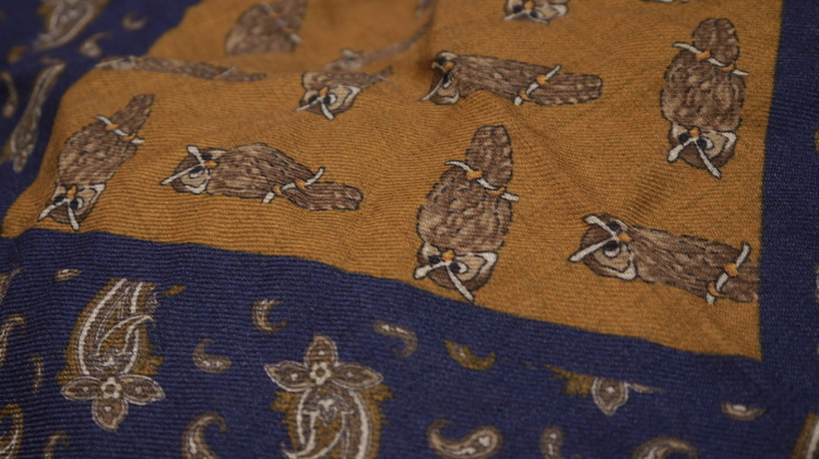Owl Wool Pocket Square - Rust/Navy Blue