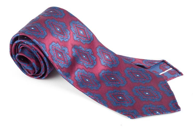 Medallion Silk Tie - Untipped - Burgundy/Light Blue