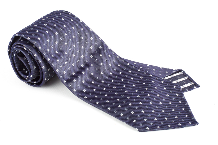 Floral Silk Tie - Untipped - Navy Blue/White