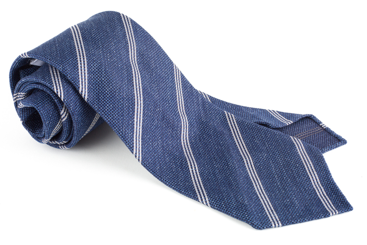 Regimental Textured Silk Tie - Untipped - Navy Blue/White