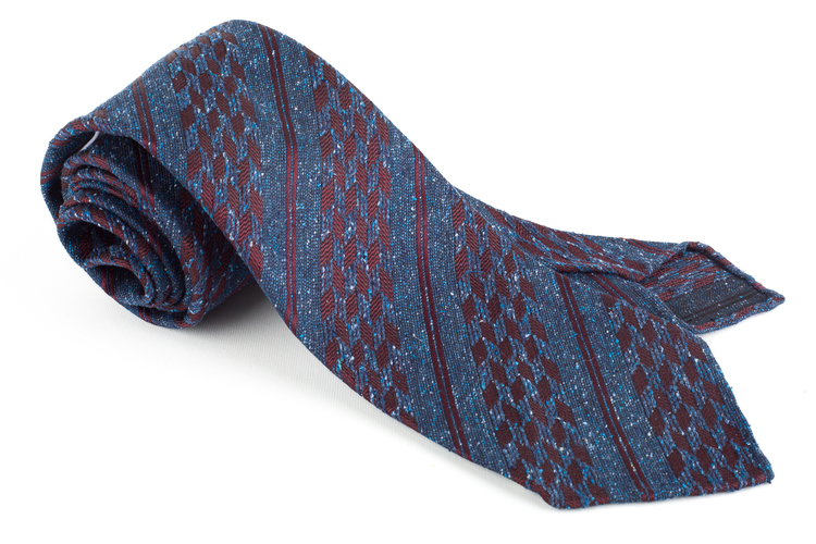 Regimental Silk/Wool Tie - Untipped - Navy Blue/Burgundy