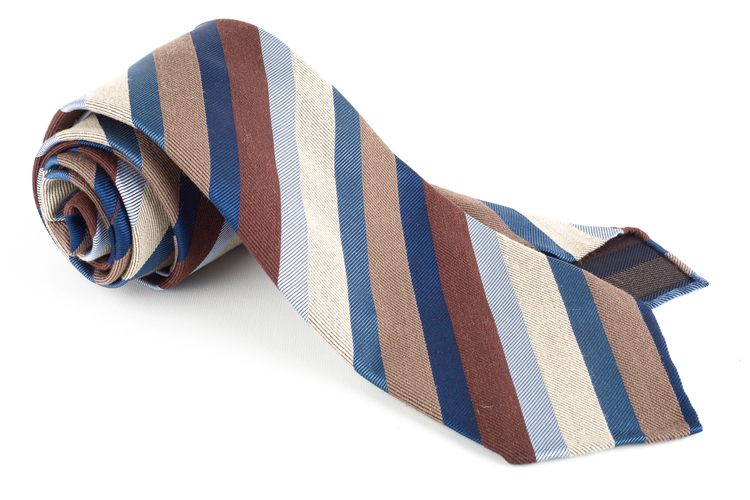 Striped Silk Tie - Untipped - Brow/Beige/Light Blue