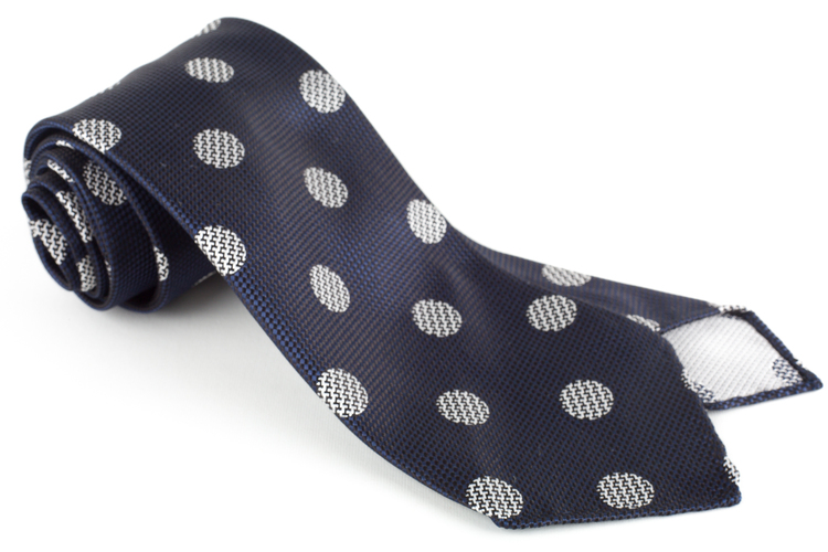 Big Dot Silk Tie - Untipped - Navy Blue/White