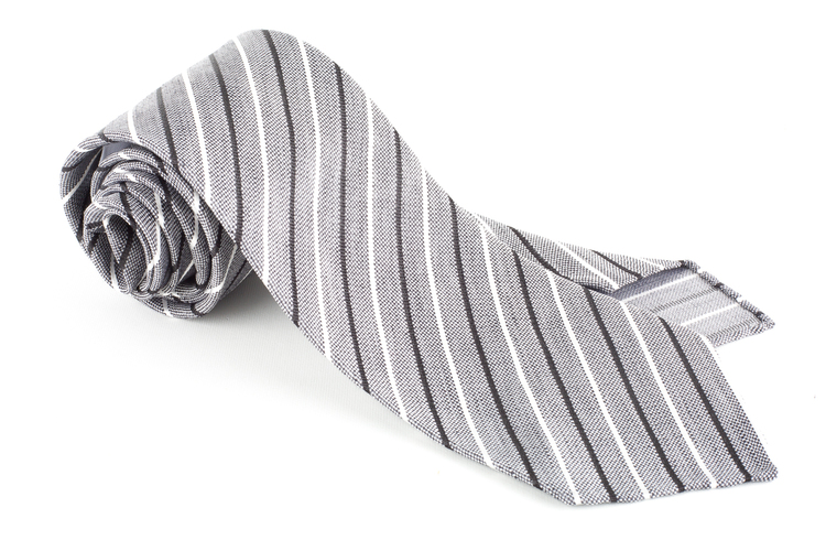 Thin Stripe Silk Tie - Untipped - Grey