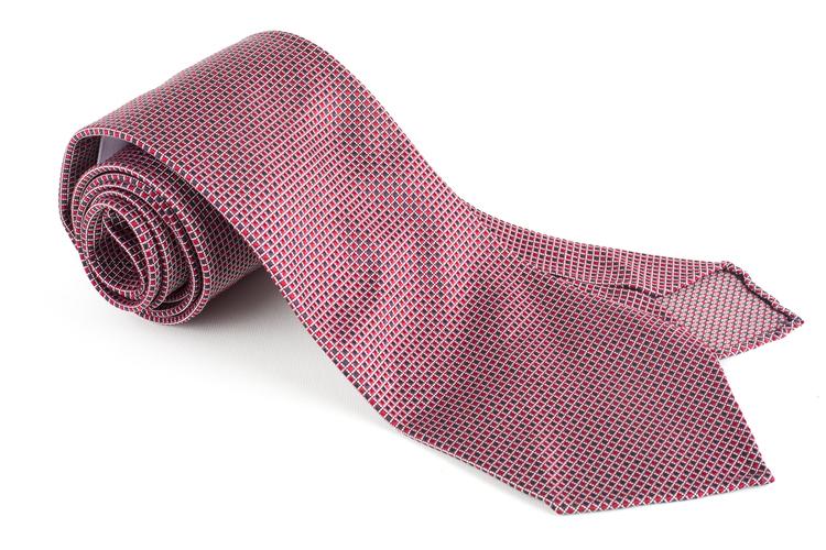 Micro Square Silk Tie - Untipped - Red/Blue