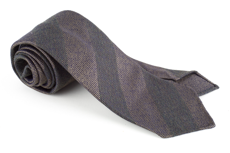 Regimental Wool/Silk Tie - Untipped - Olive Green