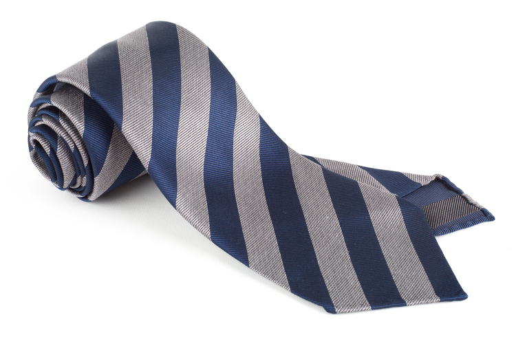 Regimental Silk Tie - Untipped - Navy Blue/White