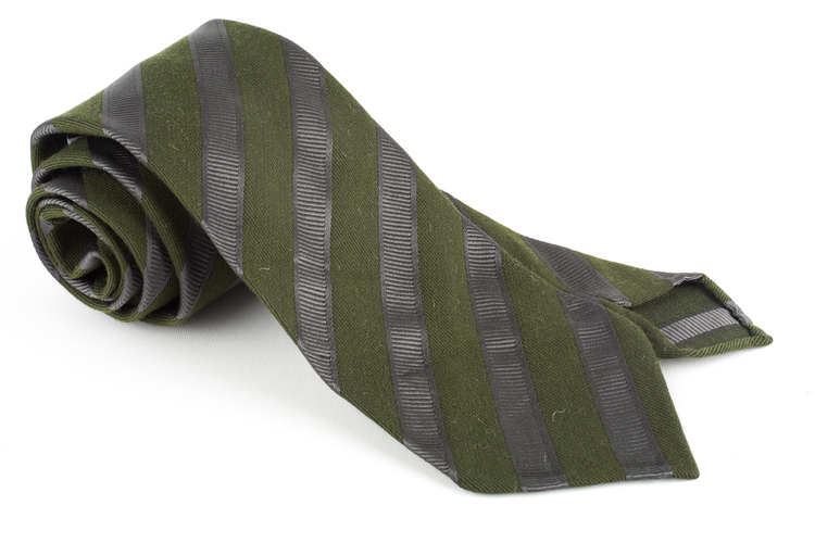Regimental Silk Tie - Untipped - Olive Green