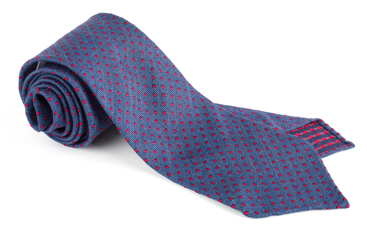 Polka Dot Silk Tie - Untipped - Light Navy/Red