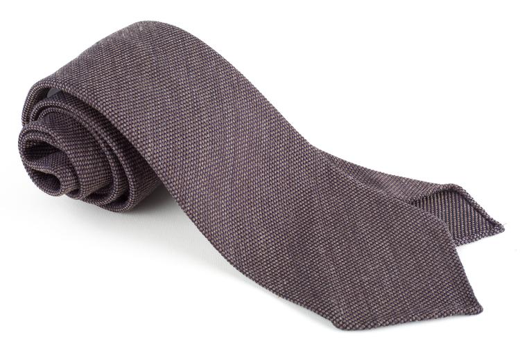 Solid Textured Wool/Silk Tie - Untipped - Brown