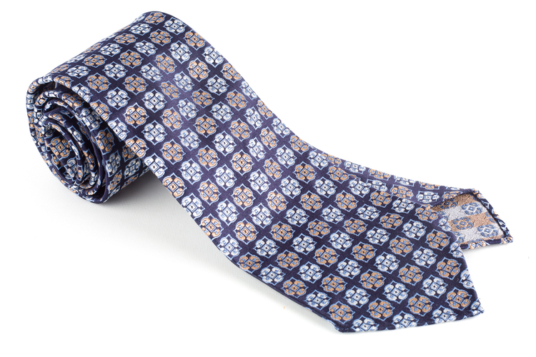Medallion Silk Tie - Untipped - Navy Blue/Orange