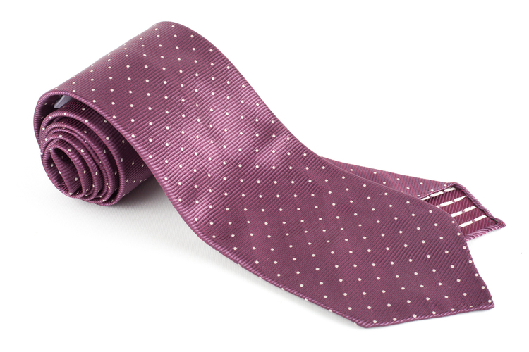 Pindot Silk Tie - Untipped - Purple/White