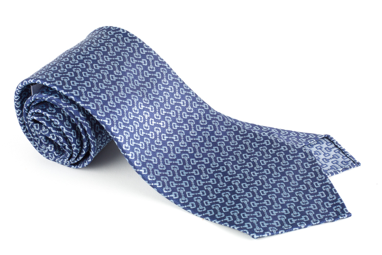 Collegamento Silk Tie - Untipped - Navy Blue/Light Blue