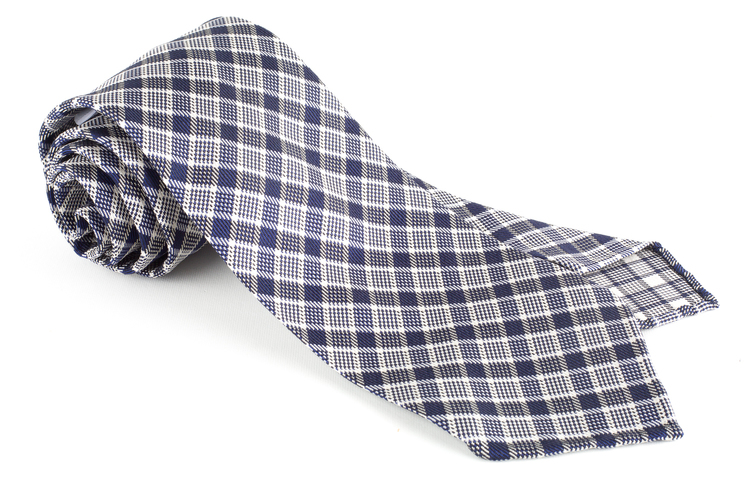 Check Silk Tie - Untipped - Navy Blue/White