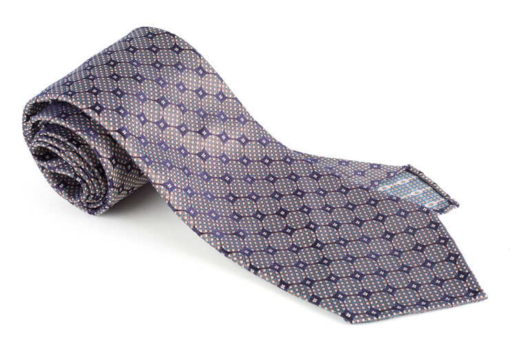 Circular Silk Tie - Untipped - Navy Blue/Brown
