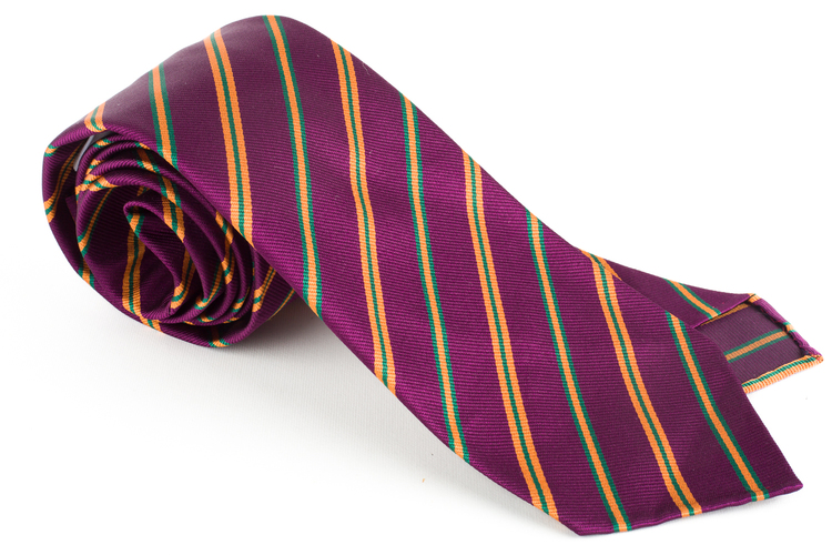 Regimental Silk Tie - Untipped - Lilac/Orange/Green