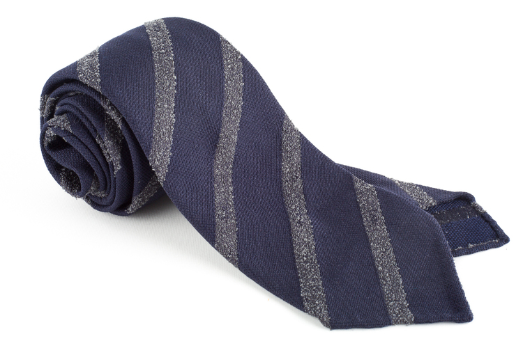 Regimental Textured Wool/Silk Tie - Untipped - Navy Blue/Grey