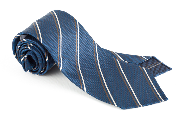 Regimental Silk Tie - Untipped - Navy Blue/Brown/White