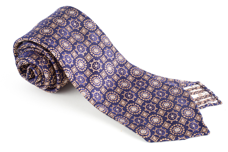 Medallion Silk Tie - Untipped - Navy Blue/Beige