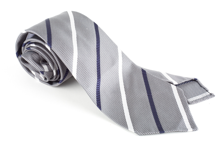 Regimental Textured Silk Tie - Untipped - Grey/Navy Blue/White
