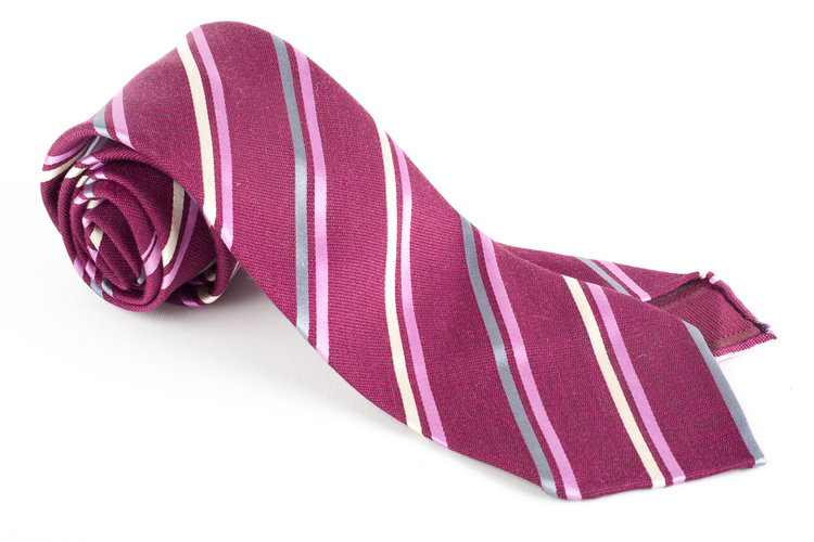 Regimental Silk Tie - Untipped - Lilac/Grey/Pink