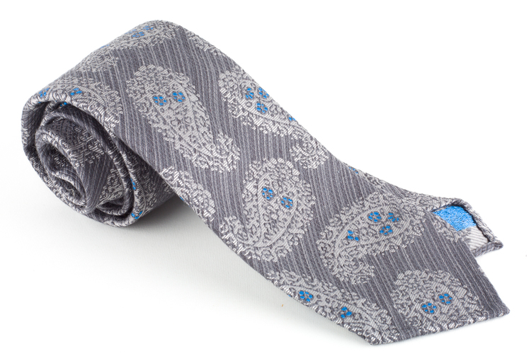 Paisley Silk Tie - Untipped - Grey/White/Turquoise