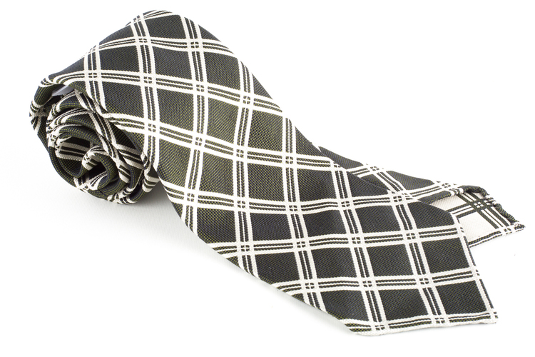 Check Silk Tie - Untipped - Grey/White