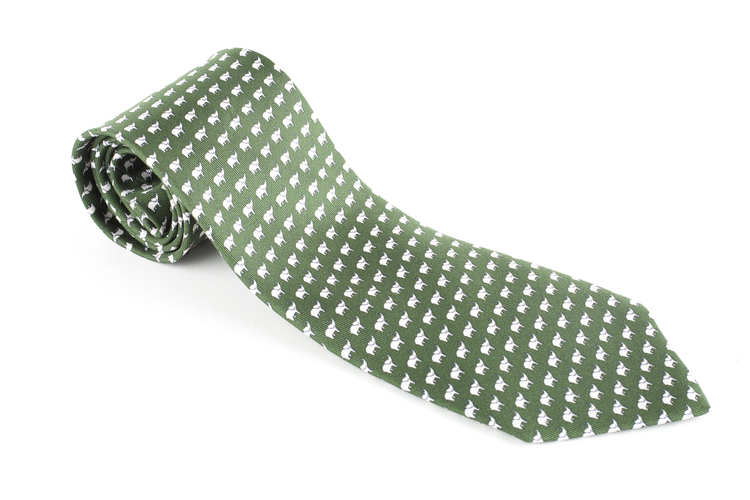 Elephant Printed Silk Tie - Olive Green/White