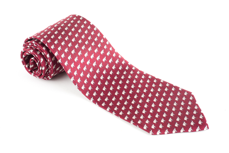 Elephant Printed Silk Tie - Burgundy/White