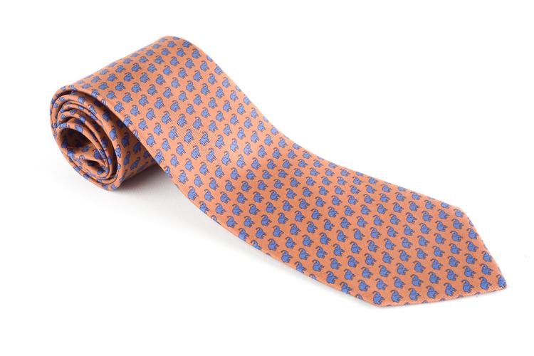 Elephant Printed Silk Tie - Beige/Light Blue