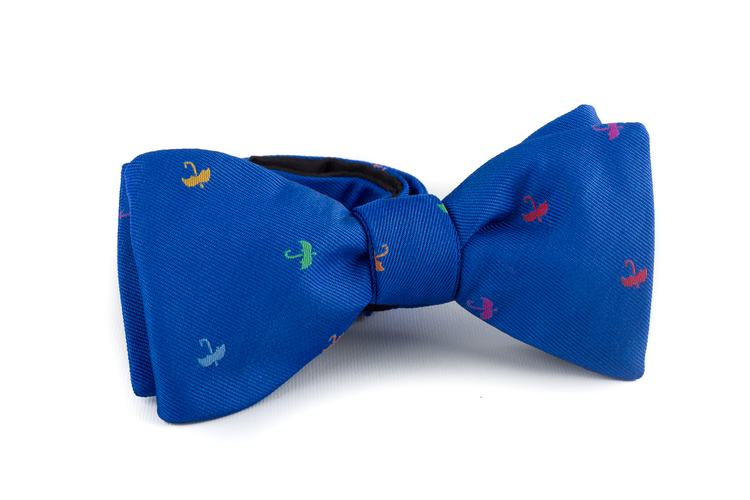 Umbrella Silk Bow Tie - Mid Blue