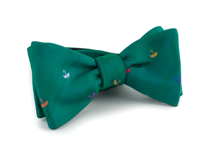 Umbrella Silk Bow Tie - Green