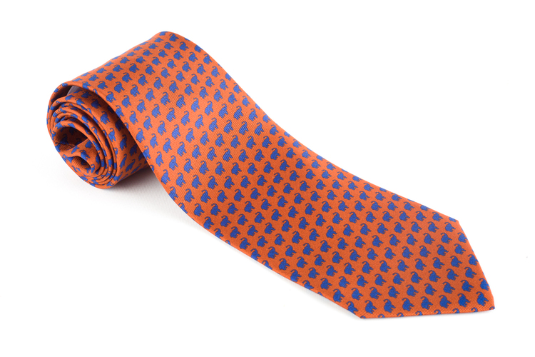 Elephant Printed Silk Tie - Rust/Light Blue