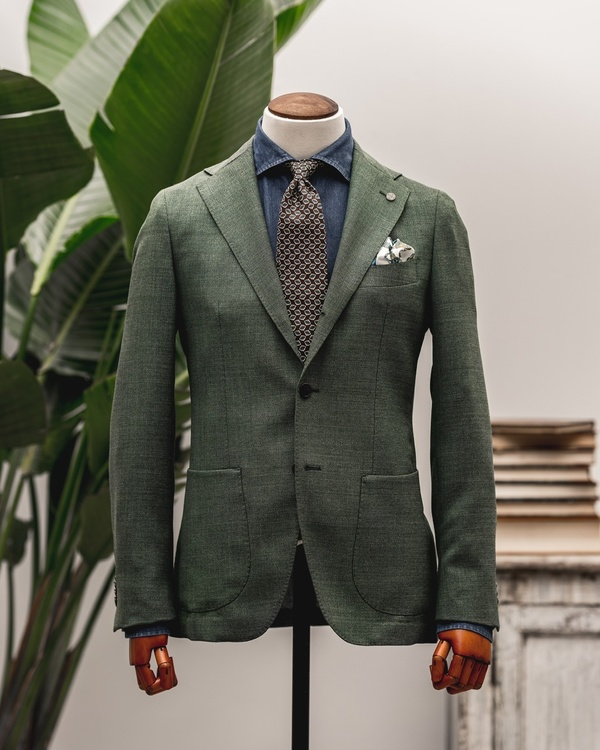 Solid Textured Fresco Wool Jacket - Unconstructed - Green