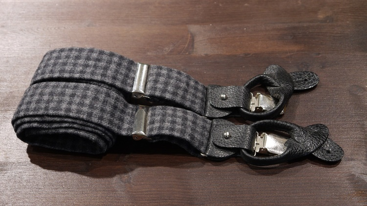 Check Suspenders Solid - Navy Blue/Grey