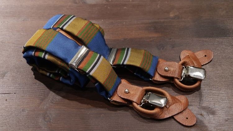 Stripe Suspenders - Light Blue/Orange/Green