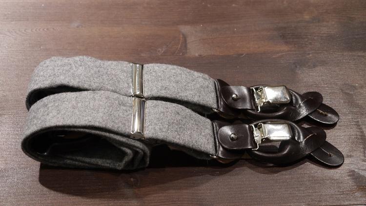 Solid Flannel Suspenders - Light Grey
