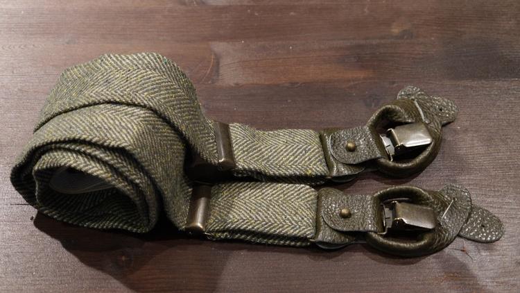 Herringbone Linen/Wool Suspenders - Green