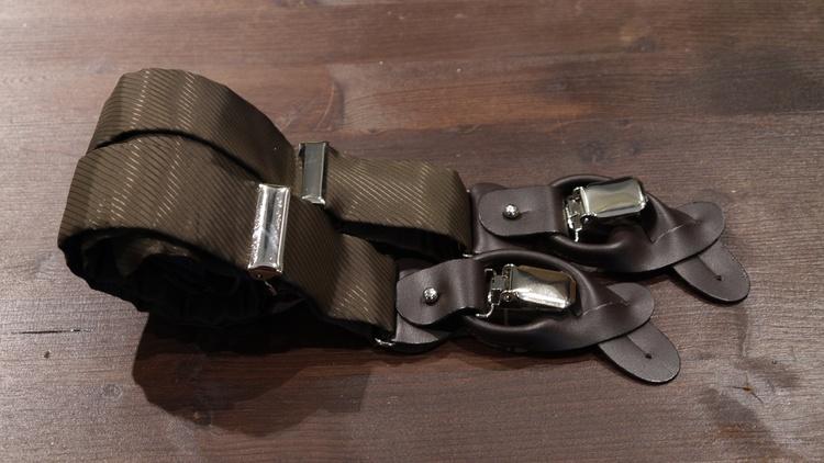 Solid Viscose Suspenders - Brown