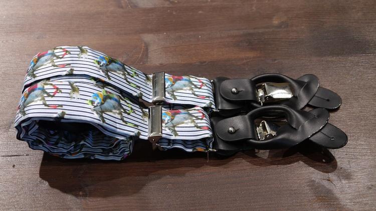 Jockey Viscose Suspenders - Light Blue/Navy Blue