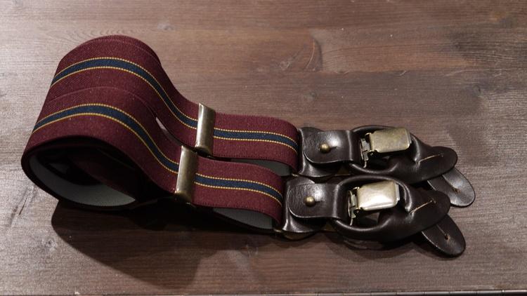 Regimental Suspenders Stretch - Burgundy/Navy Blue